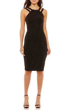 Bisou Bisou Bisou Sleeveless Glitter Sheath Dress