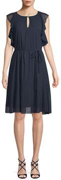 Ellen Tracy Women's Ruffle-Trimmed Knee-Length Dress