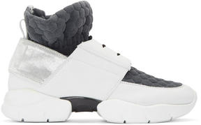 MSGM Off-White and Grey Ruched Jersey Sneakers