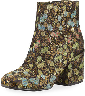 Charles by Charles David Quincey Chunky-Heel Floral Brocade Bootie