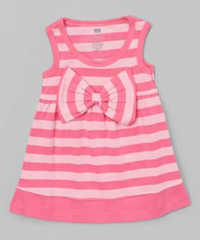 Hudson Baby Pink Stripe Big-Bow Scoop Neck Dress - Newborn & Infant