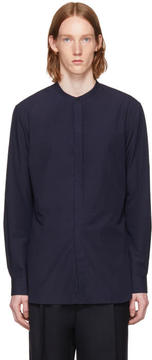 Lemaire Navy Band Collar Shirt