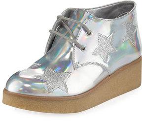 Stella McCartney Wendy Star-Patched Platform Sneaker, Sizes 10T-5Y