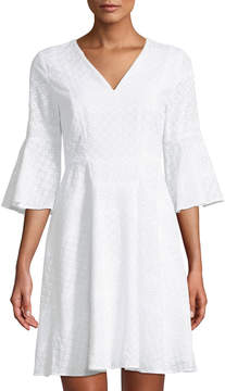Cynthia Steffe Cece By 3/4-Bell-Sleeve Eyelet A-Line Dress
