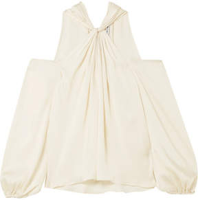 Elizabeth and James Minnie Cold-shoulder Twist-front Satin-twill Top - Off-white