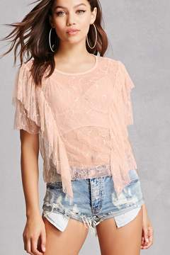 Forever 21 Sheer Crochet Lace Top