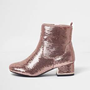 River Island Girls pink metallic sequin block heel boots