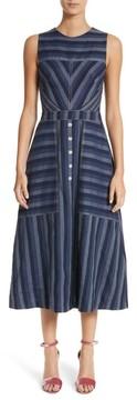 Carolina Herrera Women's Stripe Denim Midi Dress
