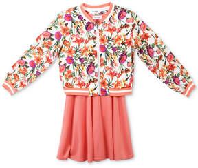 Speechless 2-Pc. Floral-Print Bomber Jacket & Skater Dress Set, Big Girls