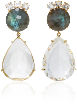 Bounkit Labradorite and Clear Quartz Two-Way Earrings