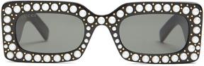 GUCCI Faux-pearl embellished acetate sunglasses
