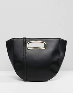 Asos DESIGN winged saddle shopper bag with hardware handle