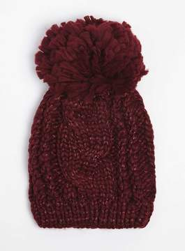 Dorothy Perkins Wine Red Cable Beanie Hat