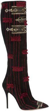 Oscar de la Renta embroidered and embellished knee boots