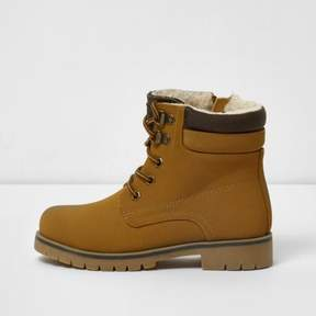 River Island Boys tan cleated lace-up worker boots
