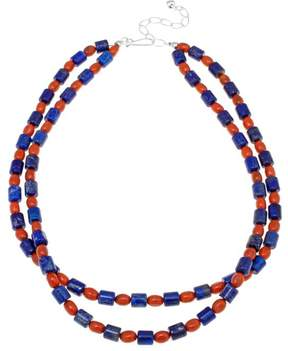 Lapis Mine Finds by Jay King Jay King and Orange Coral Bead Sterling Silver 18 Necklace
