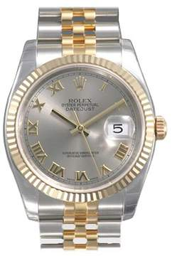 Rolex Oyster Perpetual Datejust 36 Silver Dial Stainless Steel and 18K Yellow Gold Jubilee Bracelet Automatic Men's Watch 116233SRJ