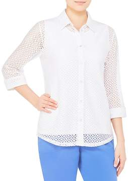 Allison Daley Petites 3/4 Sleeve Circle Lace Knit Button Front Shirt
