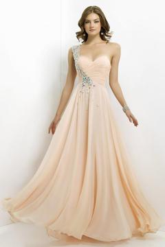 Blush Lingerie One Shoulder Pleated Long Dress 9760