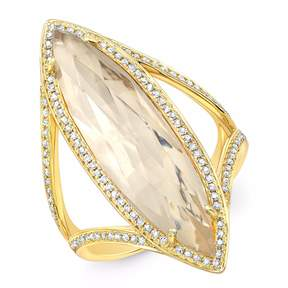 Anne Sisteron Yellow Gold Diamond Topaz Serena Ring