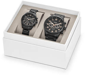 Fossil His and Her Chronograph Black Stainless Steel Watch Gift Set