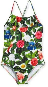 Oscar de la Renta Flower Jungle Ruffle One-Piece Swimsuit, Size 2-14