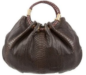 Michael Kors Python Skorpios New Ring Tote - BROWN - STYLE