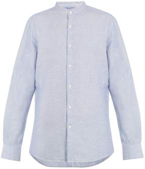 Ermenegildo Zegna Grandad-collar checked cotton-blend shirt
