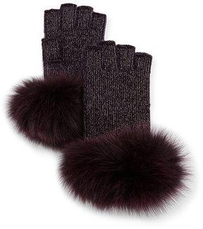 Sofia Cashmere Lurex®; Knit Fingerless Gloves w/ Fur Cuffs