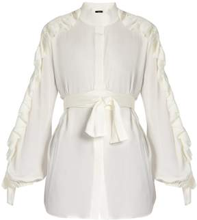 Ellery Audacity ruffled-sleeve silk-blend blouse
