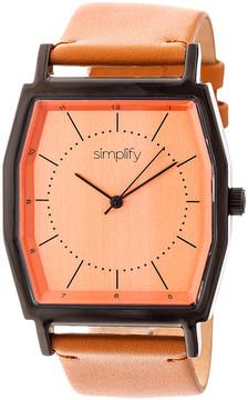Simplify Black & Orange The 5400 Leather-strap Watch
