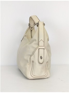 Tod's Cream Canvas Leather Purse