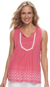 Caribbean Joe Women's Embroidered Lace Tank