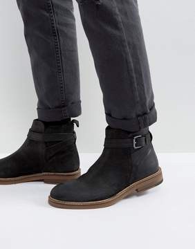 Asos Chelsea Boots In Black Suede With Strap Detail