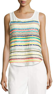 Catherine Malandrino Beaded Tank W/Embroidered Stripes, White