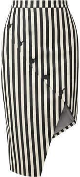 Altuzarra Paul Bert Button-embellished Striped Stretch Cotton-twill Skirt - Black
