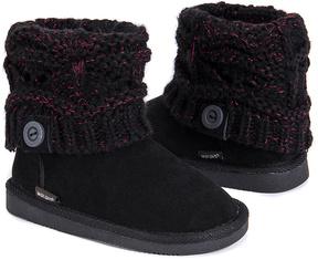 Muk Luks Black Knit Button Patti Boot - Kids