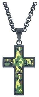Armani Exchange Jewelry Mens Camoflague Cross Pendant With Black And Green Plated Stainless Steel.