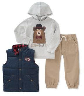 Kids Headquarters Baby Boy's Three-Piece Quilted Denim Vest, Graphic Hoodie and Classic Jogger Pants Set