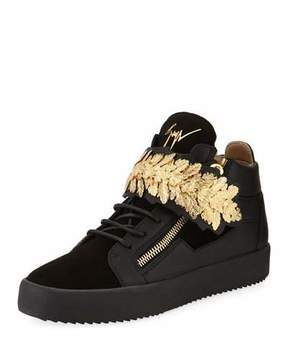 Giuseppe Zanotti Men's Mid-Top Sneakers with Gold Leaf Strap, Black