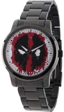 Marvel Marvel's Deadpool Men's Black Alloy Watch, Black Stainless Steel Bracelet