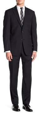 Hart Schaffner Marx Black Pinstripe Notch Lapel Wool New York Fit Suit