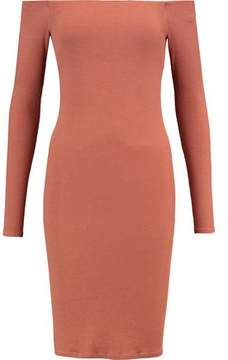 Enza Costa Off-The-Shoulder Ribbed-Knit Mini Dress