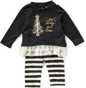 Rare Editions Baby Girls Newborn-24 Months Christmas Tree Top & Striped Leggings Set