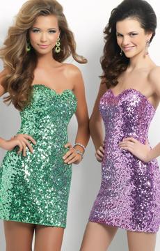 Blush Lingerie C122 Strapless Sequined Sheath Short Dress