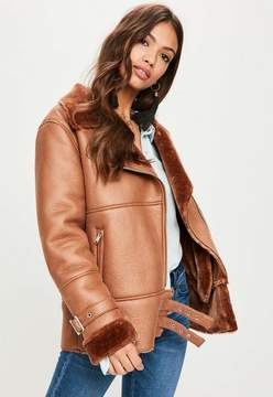 Missguided Tan Ultimate Aviator Jacket