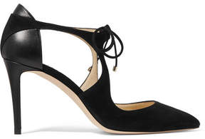 Jimmy Choo Vanessa 85 Cutout Suede And Leather Pumps - Black