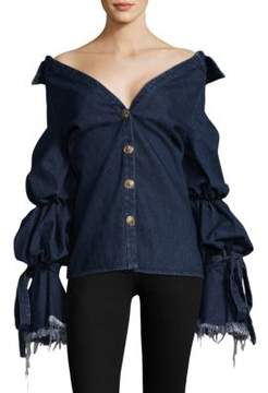 Caroline Constas Rigid Cotton Off Shoulder Denim Jacket