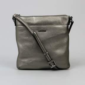 Calvin Klein Leather Pebble Crossbody Metallic Silver