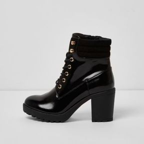 River Island Womens Black patent lace up chunky heeled boots